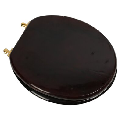 Designer Solid Oak Wood Round Toilet Seat Finish: Mahogany, Hinge Finish: Polished Brass