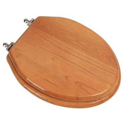 Designer Solid Oak Wood Elongated Toilet Seat Finish: Natural Red Oak, Hinge Finish: Brushed Nickel