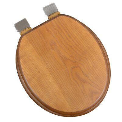 Wood Decorative Round Toilet Seat Finish: Dark Brown Oak, Hinge Finish: Brushed Nickel
