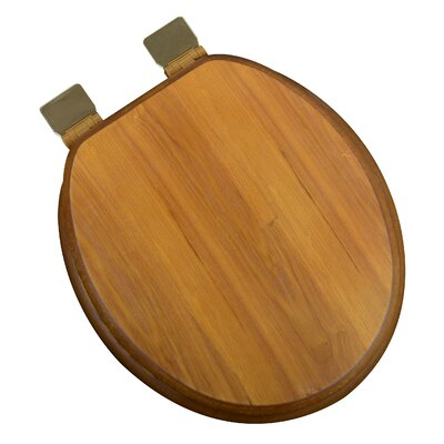 Wood Decorative Round Toilet Seat Finish: Light Oak, Hinge Finish: Polished Brass