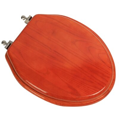 Designer Solid Oak Wood Elongated Toilet Seat Finish: American Red Cherry, Hinge Finish: Brushed Nickel