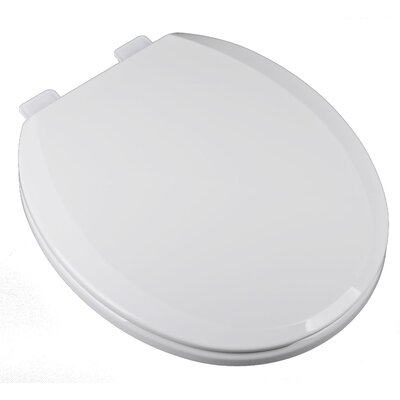 Deluxe Slow Close Plastic Round Toilet Seat Finish: White