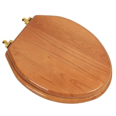 Designer Solid Oak Wood Elongated Toilet Seat Finish: Natural Red Oak, Hinge Finish: Polished Brass