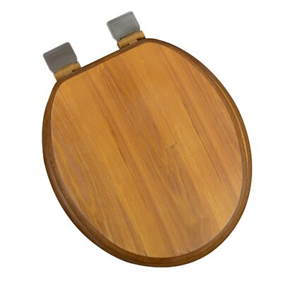 Wood Decorative Round Toilet Seat Finish: Light Oak, Hinge Finish: Brushed Nickel
