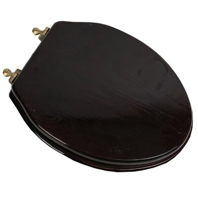 Designer Solid Oak Wood Elongated Toilet Seat Hinge Finish: Antique Brass, Finish: Dark Brown Oak