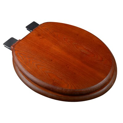 Wood Decorative Round Toilet Seat Finish: Light Oak, Hinge Finish: Chrome