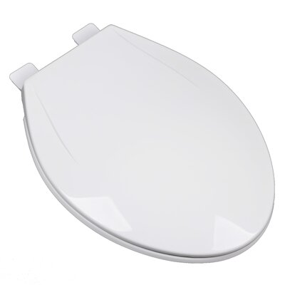 Slow Close Plastic Contemporary Elongated Toilet Seat Finish: White