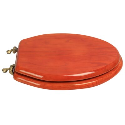 Designer Solid Oak Wood Elongated Toilet Seat Finish: American Red Cherry, Hinge Finish: Antique Brass