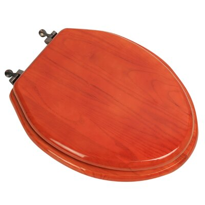 Designer Solid Oak Wood Elongated Toilet Seat Finish: American Red Cherry, Hinge Finish: Oil Rubbed Bronze
