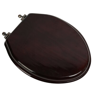 Designer Solid Oak Wood Elongated Toilet Seat Finish: Mahogany, Hinge Finish: Oil Rubbed Bronze