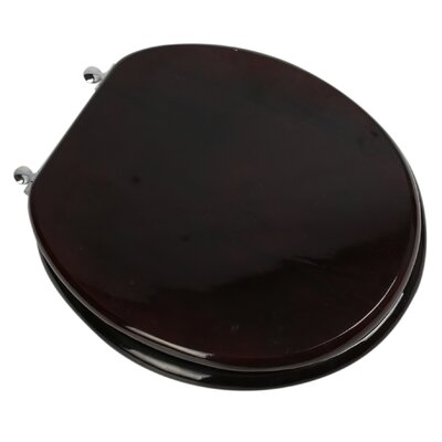 Designer Solid Oak Wood Round Toilet Seat Finish: Mahogany, Hinge Finish: Chrome