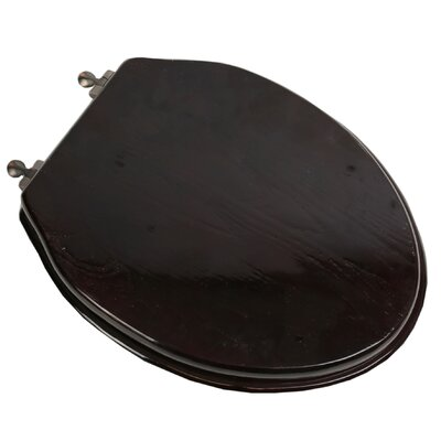 Designer Solid Oak Wood Elongated Toilet Seat Finish: Dark Brown Oak, Hinge Finish: Oil Rubbed Bronze
