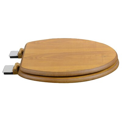 Wood Decorative Elongated Toilet Seat Finish: Light Oak, Hinge Finish: Chrome