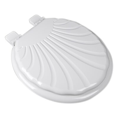 Sculpted Seashell Molded Wood Round Toilet Seat