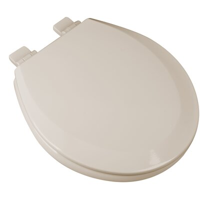 Slow Close Premium Molded Wood Round Toilet Seat Finish: Bone