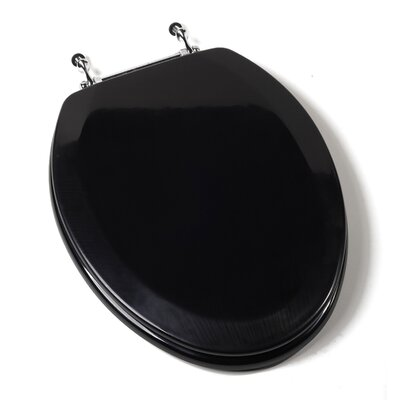 Premium Molded Wood Elongated Toilet Seat Finish: Black