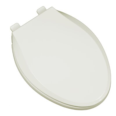 Heavy Duty Commercial Weight Slow Close Premium Plastic Elongated Toilet Seat Finish: Linen/Biscuit