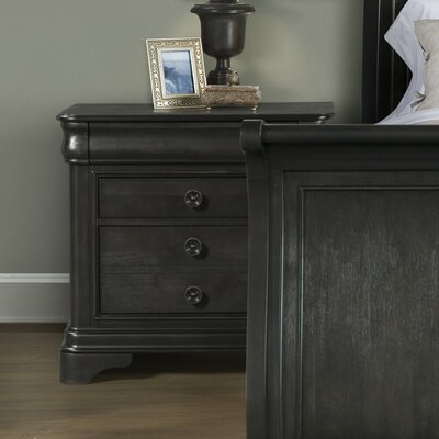 Segars 3 Drawer Nightstand Finish: Charcoal