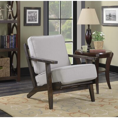 Lora Accent Arm Chair Upholstery: Taupe, Finish: Espresso
