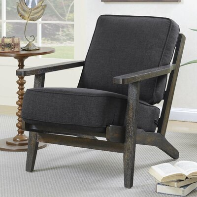 Lora Accent Armchair Upholstery: Midtown Onyx, Finish: Antique