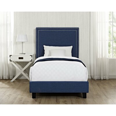 Caledonia Upholstered Platform Bed Upholstery: Blue, Size: Twin