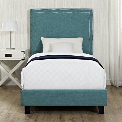 Caledonia Upholstered Platform Bed Color: Teal, Size: Queen