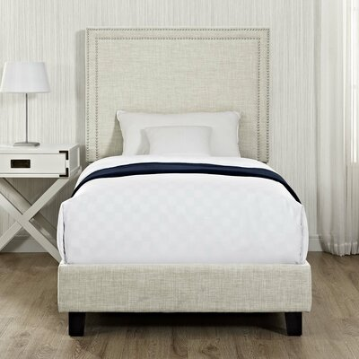 Caledonia Upholstered Platform Bed Color: Natural, Size: Twin