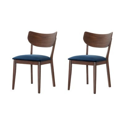 Waterbury Solid Wood Dining Chair Color: Navy Blue