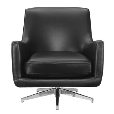 Lyon Swivel Armchair Upholstery: Black