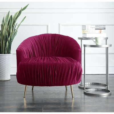 Nouvelles Ruched Accent Barrel Chair Upholstery: Cranberry