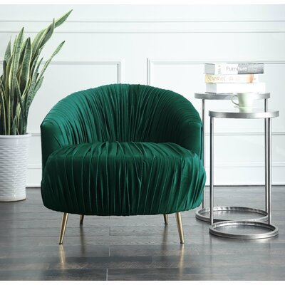 Nouvelles Ruched Accent Barrel Chair Upholstery: Emerald