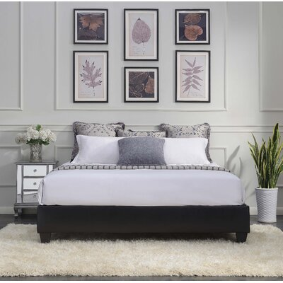 Crowell Upholstered Platform Bed Size: King, Color: Black