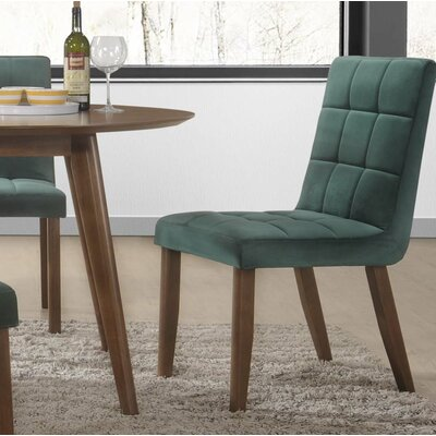Singleton Tufted Upholstered Dining Chair Upholstery Color: Green