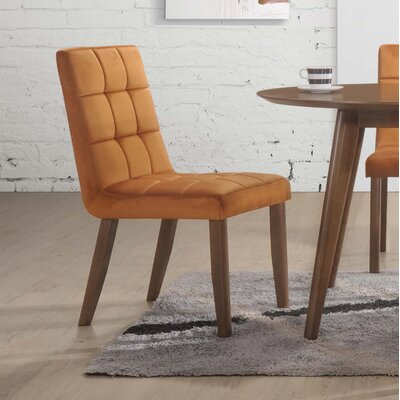 Singleton Tufted Upholstered Dining Chair Upholstery Color: Orange