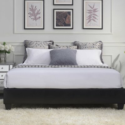 Crowell Upholstered Platform Bed Size: Queen, Color: Black