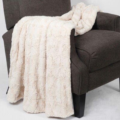 Rose Double Sided Faux Fur Throw Blanket Color: Ivory / Brushed Rose