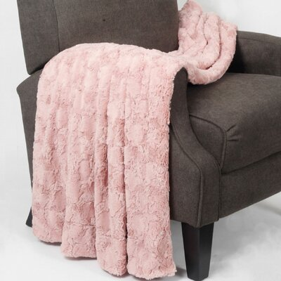Rose Double Sided Faux Fur Throw Blanket Color: Pink / Brushed Rose