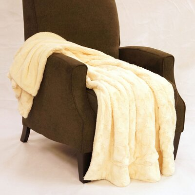 Swirl Faux Fur Throw Blanket Color: Antique White