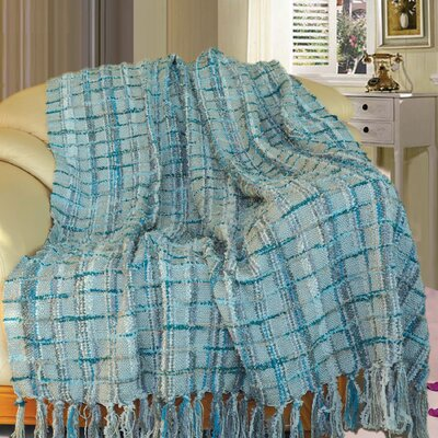 Chenille Multi-Colored Throw Blanket Color: Gray Blue