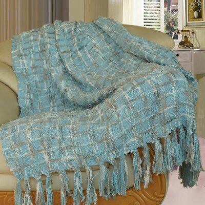 Chenille Multi-Colored Throw Blanket Color: Light Blue