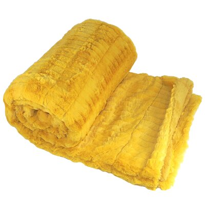 Garret Faux Fur Throw Blanket Color: Golden Rod
