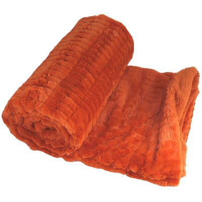 Garret Faux Fur Throw Blanket Color: Burnt Orange