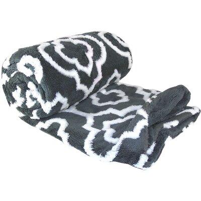 Jacquard Sherpa Throw Blanket Color: Gray
