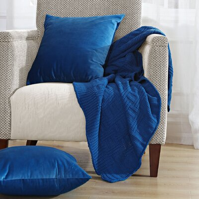Cable Brooke Throw Blanket Color: Snorkel Blue