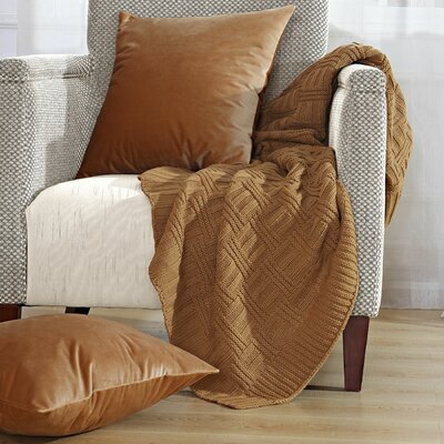 Cable Brooke Throw Blanket Color: Iced Coffee