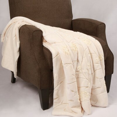 Embroidered Ribbon Faux Fur Throw Color: Ivory