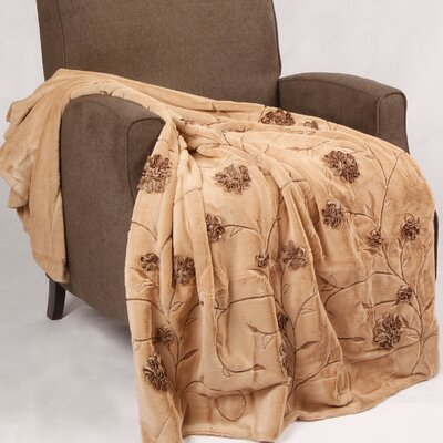 Embroidered Ribbon Faux Fur Throw Color: Light Camel