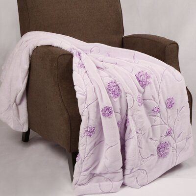 Embroidered Ribbon Faux Fur Throw Color: Lilac