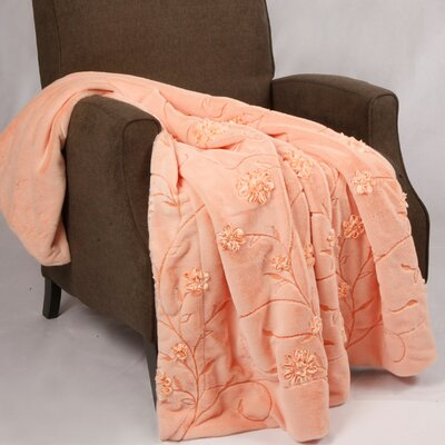 Embroidered Ribbon Faux Fur Throw Color: Salmon