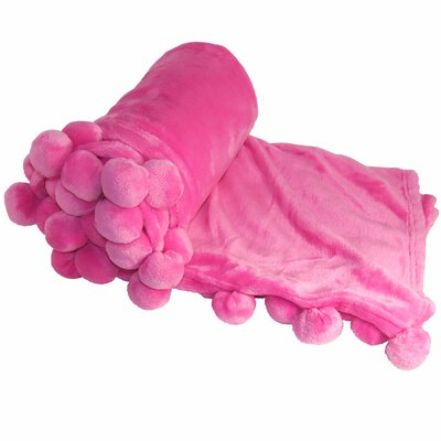 Flannel Fleece Pom Pom Throw Blanket Color: Pink